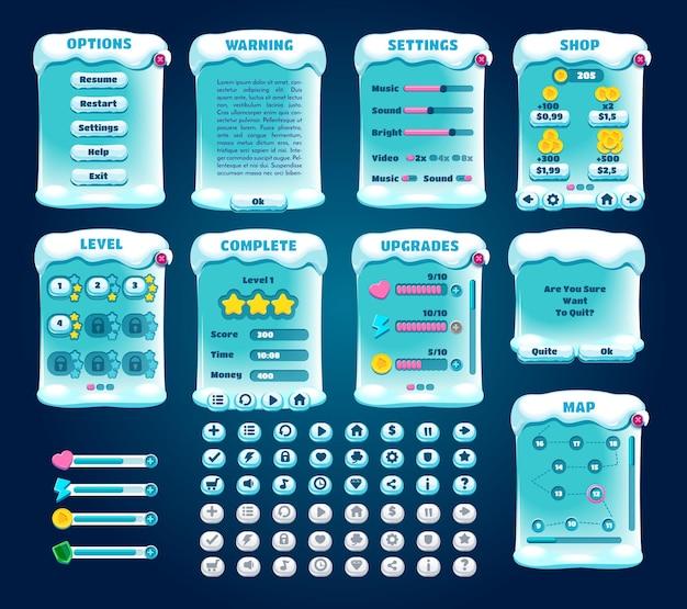 Ui do jogo. conjunto de interface gráfica do usuário. dispositivo de jogo móvel. atividades esportivas de inverno.