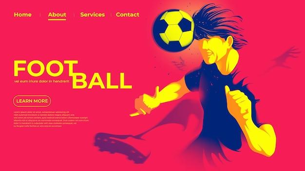 Ui ou página de destino do jogador de futebol ou futebol americano está batendo na bola com a cabeça para fazer um gol.