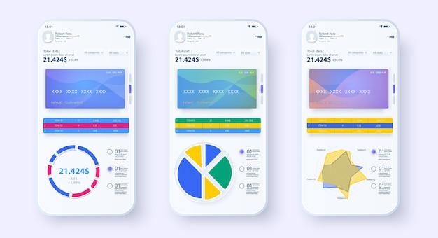 Ui, ux, gui de aplicativos móveis de banco online. modelo de banco móvel. pagamento online. tela de pagamento