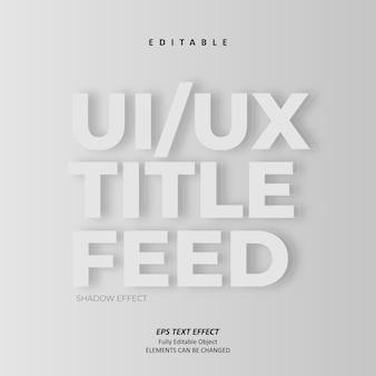 Ui ux título feed sombra cinza efeito de texto minimalista editável premium vetor
