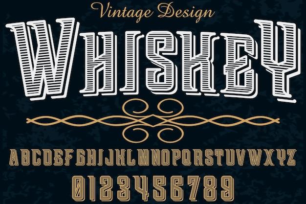 Uísque de design de fonte handcrafted alfabeto