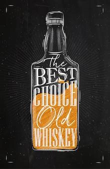 Uísque de garrafa poster lettering a melhor escolha uísque antigo