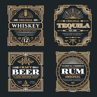 Uísque vintage e bebidas alcoólicas vector rótulos em estilo retro art deco
