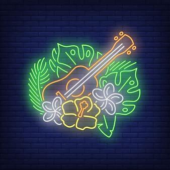 Ukulele com sinal de néon de hibiscos