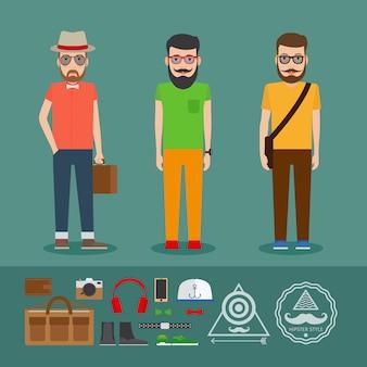 Última roupa de estilo plano hipster