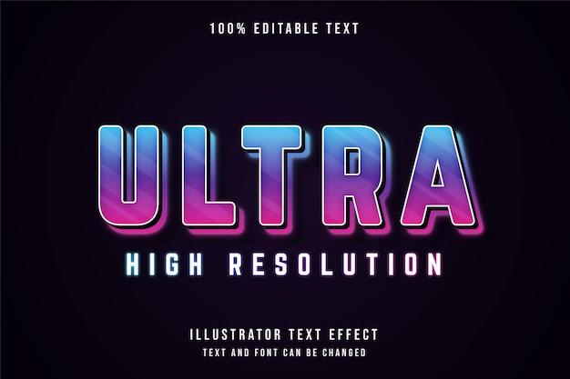 Ultra alta resolução, texto editável com efeito de texto em gradação azul e roxo rosa neon estilo