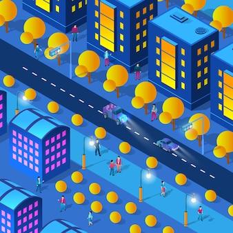 Ultravioleta de néon à noite no centro da cidade caminhando pessoas de edifícios isométricos