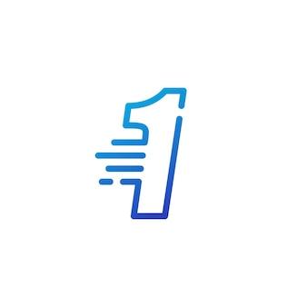 Um 1 número, traço, rápido, rápido, marca digital, linha, contorno, logotipo, vetorial, ícone