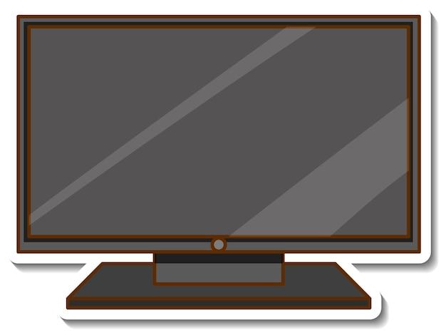 Um adesivo da televisão em um fundo branco