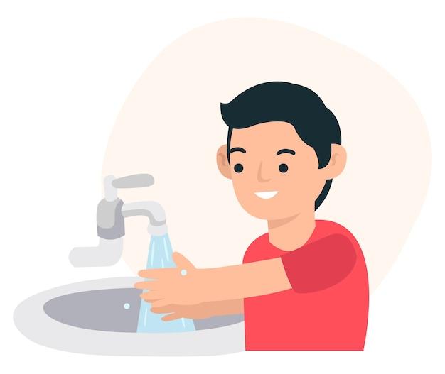Um adolescente está no banheiro lavando as mãos para não pegar o vírus covid-19