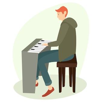 Um adolescente está tocando piano em casa à tarde