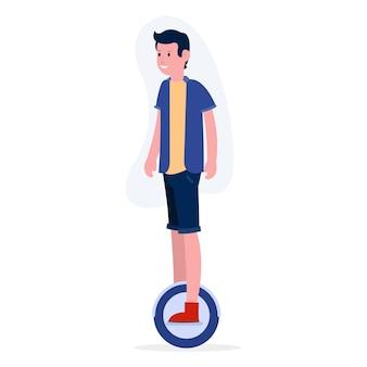 Um adolescente feliz está andando de bicicleta elétrica. ilustração para páginas de destino, sites e muito mais