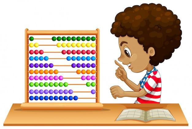 Um, africano, criança, aprendizagem, ábaco