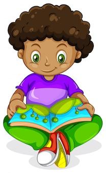 Um, africano preto, menino, livro leitura