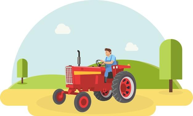 Um, agricultor, dirigindo, seu, trator, em, fazenda, arquivado