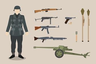 Um, alemão, ww2, soldado, arma, equipamento