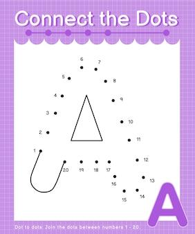 Um alfabeto conecte os pontos contando jogos de ponto a ponto para crianças