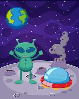 Um alienígena e um ovni fora da terra