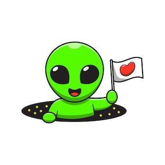 Um alienígena fofo segurando uma bandeira no buraco espacial.