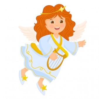 Um anjo com harpa