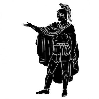 Um antigo comandante legionário romano de armadura e capa e comanda os soldados.
