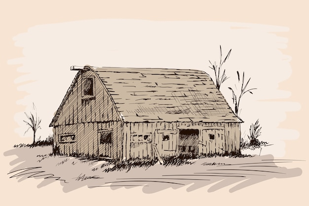 Um antigo galpão de gado de aldeia com portas abertas. esboço de mão sobre um fundo bege.