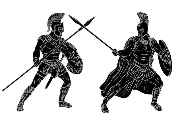 Um antigo guerreiro grego e um legionário romano em armadura
