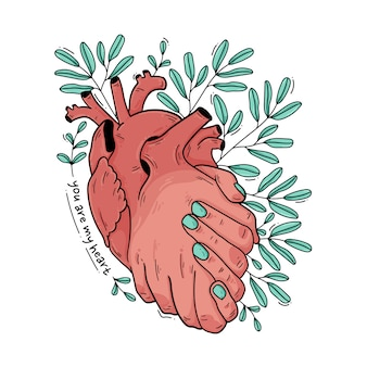 Um aperto de mão de coração