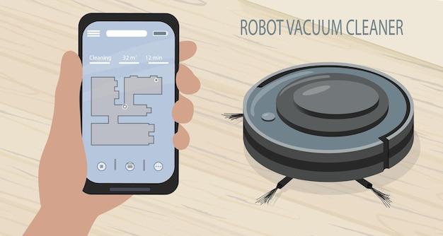 Um aplicativo de smartphone para controlar o aspirador de pó robô