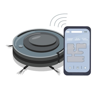 Um aplicativo de smartphone que controla um aspirador de pó robô. eletrodomésticos modernos para limpeza de apartamentos. aparelhos inteligentes. conexão sem fio.