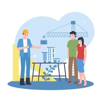 Um arquiteto profissional está explicando um projeto de construção para compradores em potencial