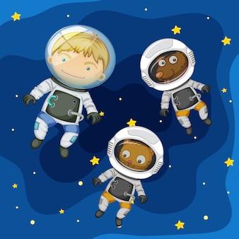Um astronauta e animal de estimação no espaço