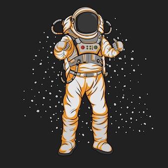 Um astronauta no espaço sinaliza que ele é bom