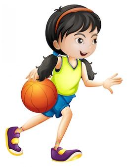 Um atleta de basquete feminino