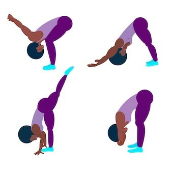 Um atleta negro faz ioga ou exercícios. ilustração em vetor