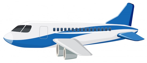 Um avião comercial no fundo branco