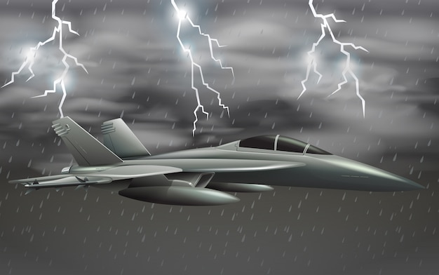 Um avião do exército no céu de mau tempo