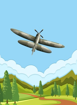 Um avião do exército no céu
