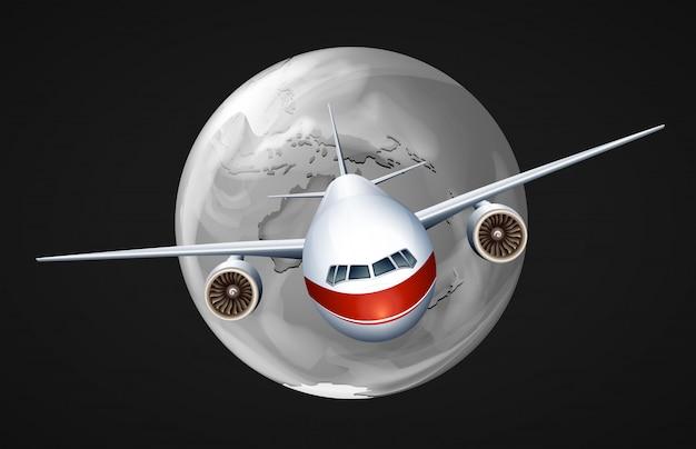 Um avião viajando ao redor do globo