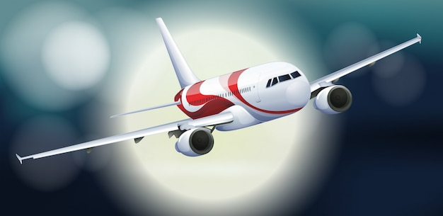 Um avião, voando, à noite