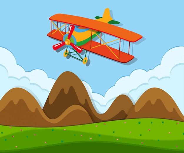 Um avião voando acima do solo
