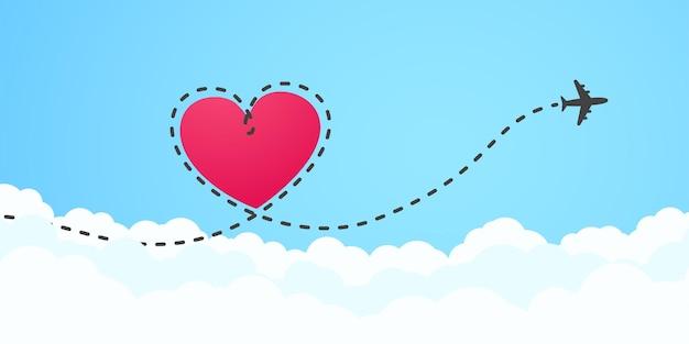 Um avião voando no céu branco deixando para trás um rastro de fumaça em forma de amor