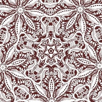 Um azulejo quadrado com elementos florais, desenho monocromático