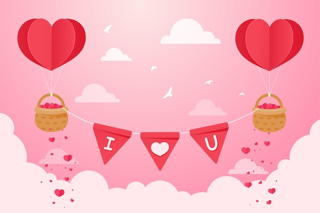 Um balão em forma de coração flutuando no céu com uma cesta cheia de corações vermelhos