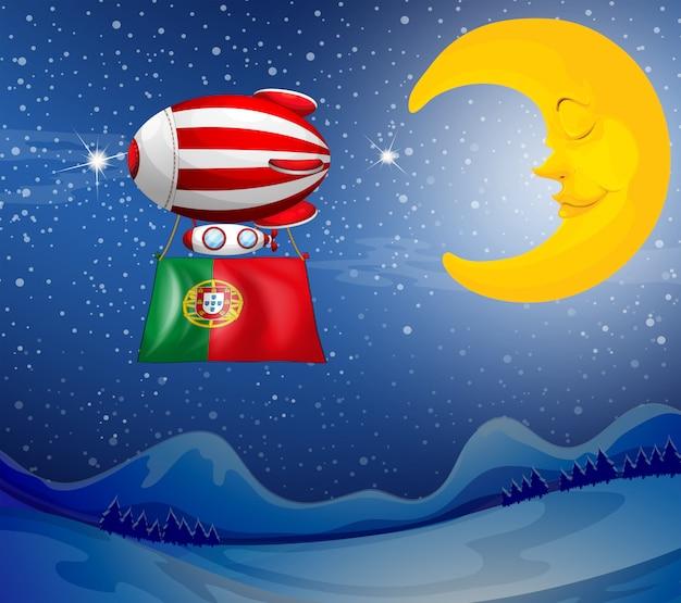 Um balão flutuante com a bandeira de portugal