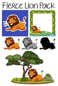 Um bando de leão feroz