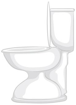 Um banheiro branco isolado em um fundo branco