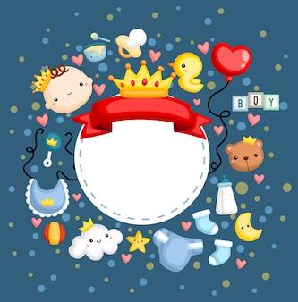 Um banner de bebê menino com muitos itens
