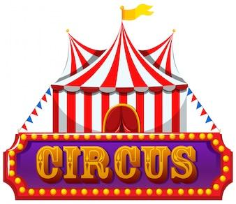 Um banner de circo no fundo branco