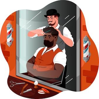 Um barbeiro fazendo uma ilustração de um penteado